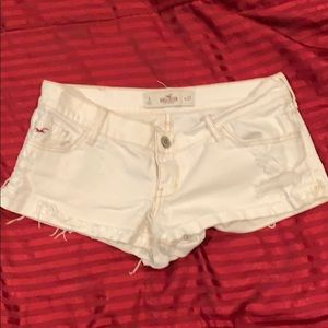 Hollister White Ripped Shorts